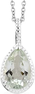 925 Sterling Silver Stainless Steel Green Amethyst Solitaire Statement Chain Pendant Necklace Jewelry for Women 20