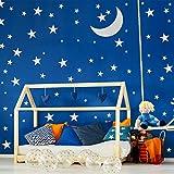 280 Calcomanía de Pared de Estrellas con 1 Pegatina de Luna Adhesivo Vinilo Extraíble de Luna Estrella de Plata Metálica Decoración de Palo de Cáscara para Niños Dormitorio Infantil, Tamaños Mixtos