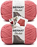 Bernat Blanket Yarn - Big Ball (10.5 oz) - 2 Pack with Pattern Cards in Color (Terracotta Rose)