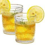 KAMEUN Juego de 2 Vasos de Whisky con Grabado al Agua Fuerte, 10,6 oz (300 ml) con Vidrio de Cristal Transparente Reutilizable en Relieve Vintage Adecuado para Fiestas y Regalos