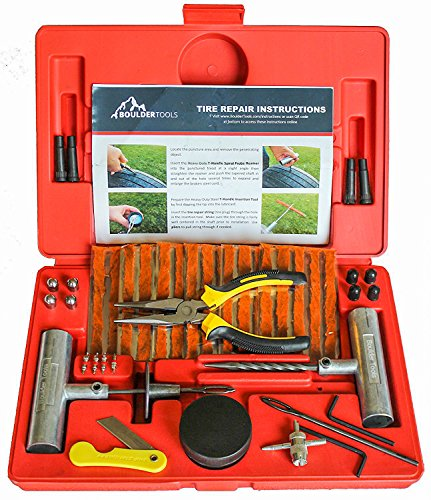 Boulder Tools - 56 Pc Heavy Duty Tire Repair Kit For Car, Truck, RV, Jeep, ATV, Motorcycle, Tractor, Trailer. Flat Tire Puncture Repair Kit