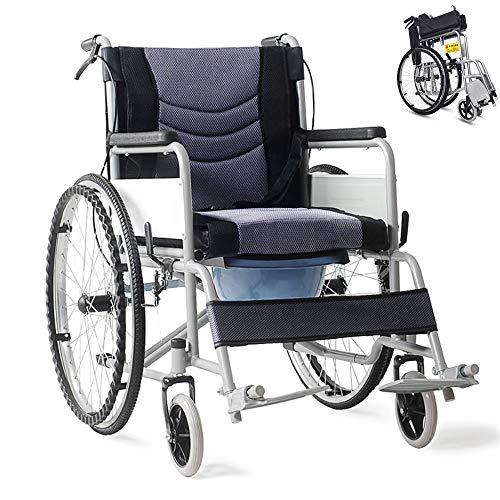Round World 折り畳み式車椅子 介助型 簡易車椅子 自走車椅子 軽量アルミ製 ノーパンクタイヤ 車いす 介護・介助用 旅行用 外出用 自走用車いす 折りたたみ 車いす 車イス コンパクト便器付き GRAY