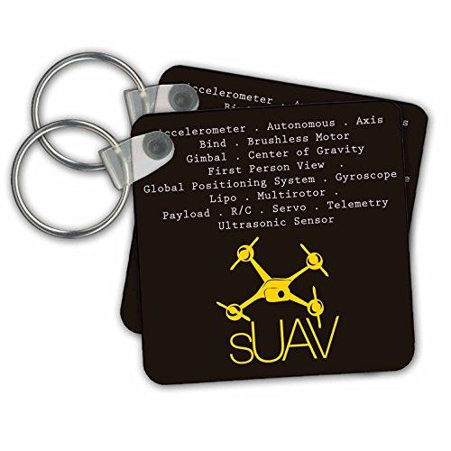 Zwart en geel Drone - sleutelkettingen, 5,7 x 5,7 cm, set 2 stuks (KC 179948 1)