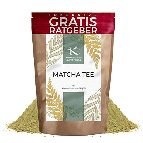 Matcha Tee 100g I Premium Matcha Pulver I hochwertiger natürlicher Tee feines Grüntee-Pulver I Krautberger Tee ohne Zusätze I inkl. gratis Ratgeber