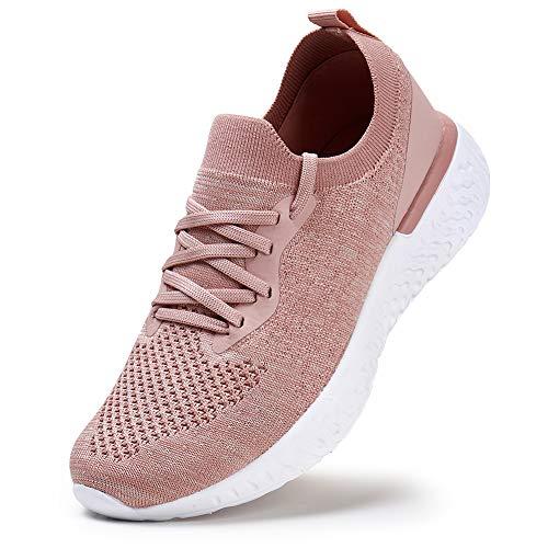 YKH Damen Sneakers Schuhe Atmungsaktive Laufschuhe Sportliche Tennisschuhe Lässige Gittergewebe Stillschuhe Schnürschuhe Pink EU 36