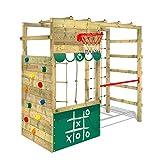 WICKEY Klettergerüst Spielturm Smart Action mit grüner Plane, Gartenspielgerät mit großer Kletterwand & Reckstange