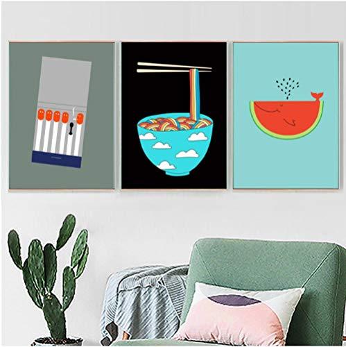 Jwqing spel watermeloen kom pasta Nordic poster muurkunst canvas schilderij wandschilderij voor woonkamer keuken eetkamer decoratie (40x60 cmx3 geen lijst)