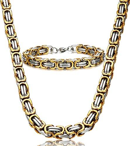 Jstyle Stainless Steel Male Chain Necklace Byzantine Bracelet for Men Jewelry Sets 8.5 Inch Bracelet