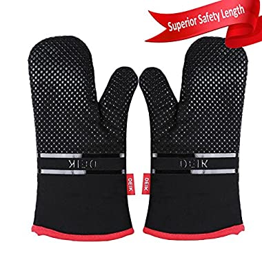 Deik Oven Mitts, Oven Mitt with Heat Resistant, Non-Slip silicone oven mitts for Cooking, Baking, Barbecue, Black Potholders, 1 Pair Oven Gloves ,oven mit, baking gloves, Kitchen Oven Mitts