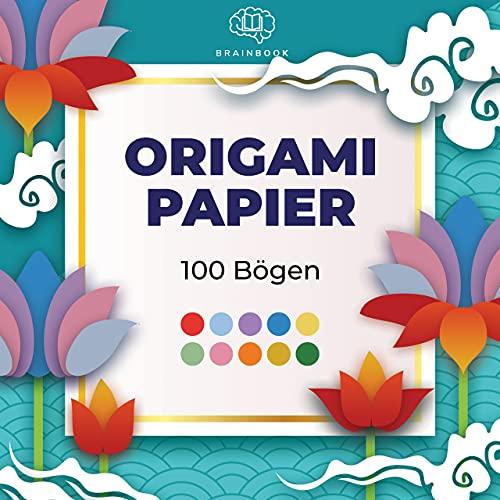 BRAINBOOK Origami Papier 100 Premium 15 x 15 cm Blatt in 10 Farben, Bastelpapier quadratisch doppelseitig, Origami Papier 15 x 15 cm, buntes Papier zum Basteln, Faltpapier quadratisch, Origami Paper