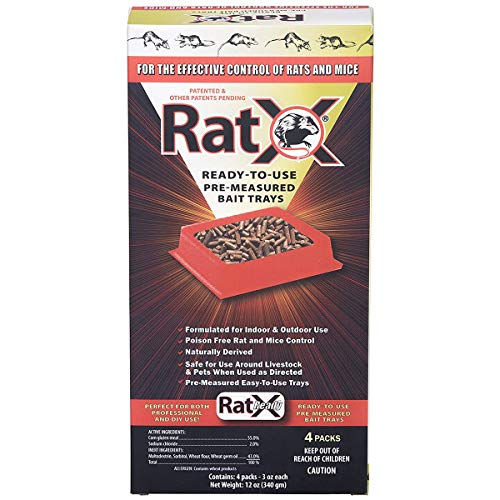EcoClear Products 620105, RatX All-Natural Non-Toxic Humane Rat and Mouse Rodenticide Pellets, Ready-To-Use Pre-Measured 3 oz. Bait Trays, 4-Pack
