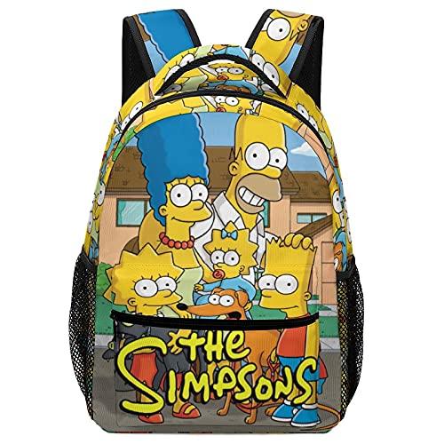 Kinder Schulranzen Rucksäcke für Jungen Mädchen Büchertasche mit Seitentasche Vorschule Cartoon Bedruckter Rucksack Gr. Einheitsgröße, Die Simpsons