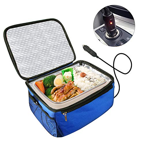 Car Portable Oven Personal Food Warmer,Car Heating Lunch Box,Electric Slow Cooker For Meals Reheating & Raw Food Cooking for Road Trip/Office Work/Picnic/Camping/Family gathering(12V) (Blue)