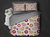 Toopeek Kids 3 unidades (1 funda de edredón y 2 fundas de almohada) diseño inspirado en patchwork de flores y corazones y puntos retro niña poliéster (dos camas) multicolor