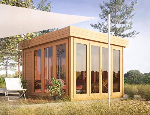 Flachdach-Gartenhaus Sonneninsel - 3,50 x 3,70 Meter aus 28 mm Blockbohlen