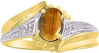 RYLOS 14K Yellow Gold Ring with Oval Shape Gemstone & Genuine Sparkling Diamonds Swirl Z Design - 7X5MM Color Stone Births...