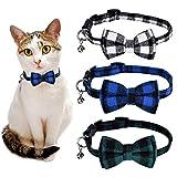 Queta Pack de 3 collares ajustables para gatos con lazo, cierre de seguridad y cascabeles para cachorros y gatos, niñas y niños