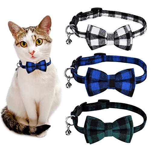 Queta - Pack de 3 collares de gato ajustable con lazo, cierre de seguridad y cascabeles para cachorros y gatos, chicos y chicos (verde, blanco y azul)