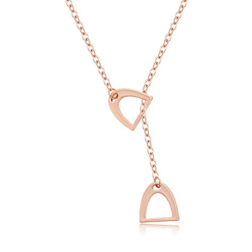 f4430608599627 MANZHEN Personality Equestrian Jewelry Double Horse Stirrup Lariat Y  Necklace
