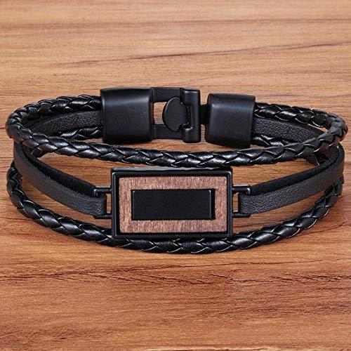 GMZPP rechthoek combinatie geweven Pu lederen armband voor mannen multi-layer gevlochten touw ketting Vaderdag sieraden gift bruin