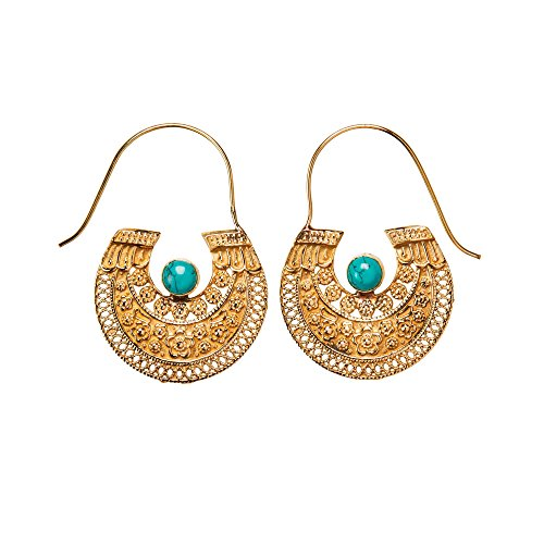 81stgeneration Women's Gold Tone Brass Tribal Boho Aztec Egyptian Simulated Turquoise Earrings