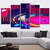 Voocuy Pintura de la Lona Arte de la Pared 5 Piezas HD Mural DJ Instrumento Tocadiscos Cartel DJ Tocadiscos Imagen Moderno Lienzo Cuadro póster-Marco 40x60 40x80 40x100cm