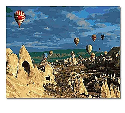 ygghj TOT Luftballon Bilder Malen nach Zahlen DIY Digital Türkei Stil Wand Öl Leinwand Kunst Malen nach Zahlen Kunstwerk 40x50 cm Gerahmt