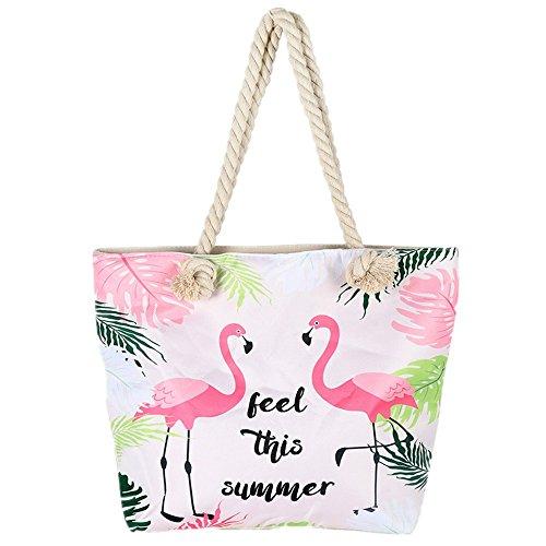 BJ-SHOP Strandtasche,Badetasche Grobe Feiertags Einkaufstasche Sommer Segeltuch Reise Umhangetasche mit Reibverschluss Einkaufstasche fur Madchen Damen Frauen