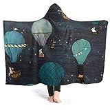 Manta de forro polar con capucha de Inaayayi, manta con diseño de animales del bosque, globo de aire caliente, aventura nocturna, manta supersuave para cama, sofá, manta de camping ligera para niños y adultos, negro, 60'x50'