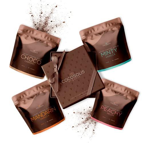 COCOSOLIS Kaffee-Body Scrub-Set - ätherische Öle - Das perfekte luxuriöse Geschenkset Frauen - 3 x Peeling Körper und 1 x Peeling Gesicht (280 gr)