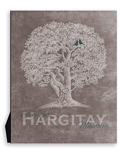 9.5x12 Metal Art Print Personalized Gift For 10th Anniversary Family Tree Oak Tree Carved Initials Teal Lovebirds on Beige Background Custom Wedding Art