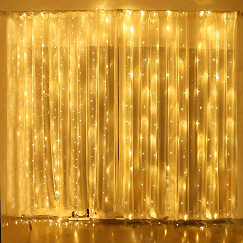 Y YUEGANG Window Curtain String Lights for Bedroom Fairy Light Waterproof 300 LED Twinkle Wedding Party Decorations Indoor Outdoor Wall Dorm Backdrop Patio Garden Warm White
