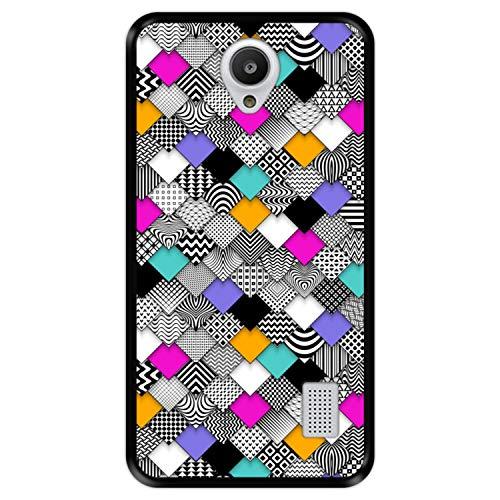 Funda Negra para [ Huawei Y635 ] diseño [ Abstracto, Mosaico geométrico Moderno ] Carcasa Silicona Flexible TPU