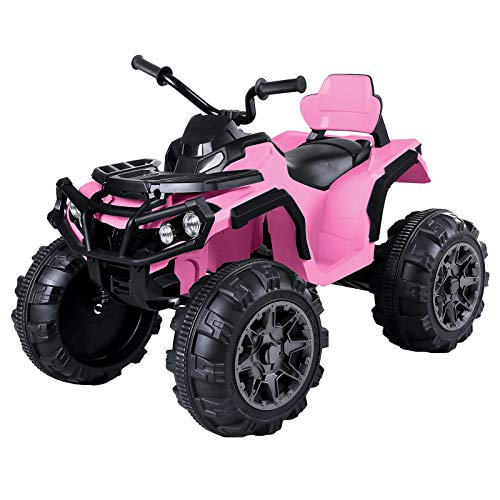 papasbox Kids ATV 4 Wheeler Ride On Quad 12V Battery Powered Electric ATV Realistic Toy Car with 2 Speeds, Easy Button, Music, Built-in USB, Spring Suspension, LED Lights and Horns