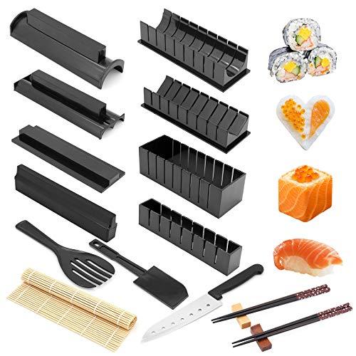 Sushi Making Kit, alles in einem Sushi-Set 16-teiliges Kunststoff-Sushi-Maker-Werkzeug mit 8 verschiedenen Formen von...