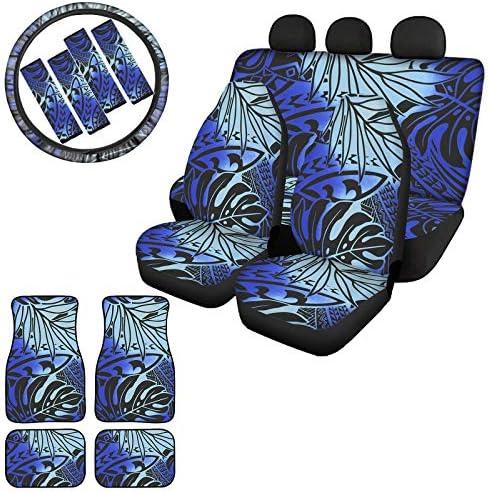 LEJIA Blue 13Pcs Car Seat Covers Set Tonga Art Tattoo Rubber Floor Mats Plam Leaves Shoulder product image