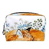 Neceser de Viaje para cosméticos para Mujer Bolsa de Maquillaje con Cierre de Cremallera portátil Diario,Art Sleeping Fox Animal Print