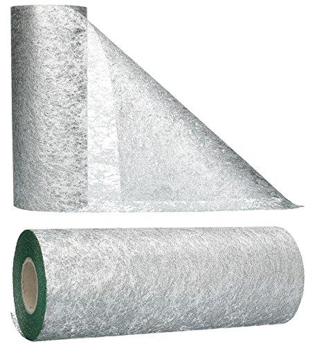 AmaCasa - Runner da tavola in tessuto non tessuto color argento, ideale per fiori, matrimoni e comunioni, 23cm/25m (Silver, 23cm)
