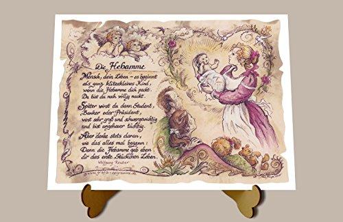 Geschenk Hebamme Geburtshelferin Geburtshilfe Zeichnung Color 20 x 15 cm mit Aufsteller