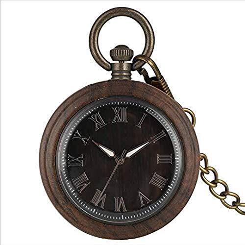 Huaib Taschenuhr Taschenuhr, Ebony Big Taschenuhr Roman Alphabet, männlich Frau Quarz-Uhr-Geschenk Holz Uhr