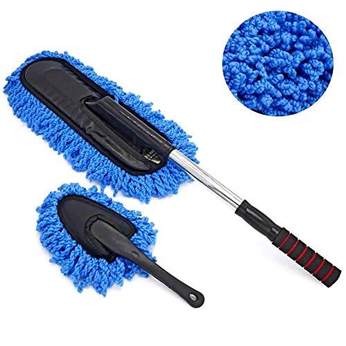 JUSHACHENGTA Car Duster Kit, Microfiber Car Duster Extendable Handle Interior Exterior Multipurpose Cleaning Car Brush, Blue