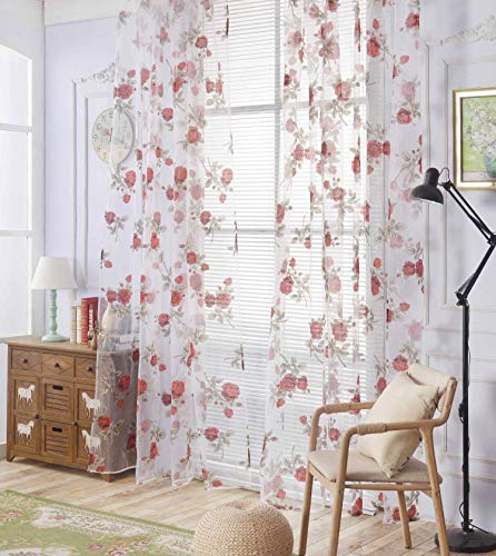 Floral Sheer Curtains Rustic Rose Rod Pocket Voile Drapes for Girl's Bedroom Living Room 84 Inches Long 2 Panels
