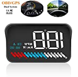 Car Universal HUD Head Up Display OBD II/GPS Interface,Vehicle Speed MPH KM/h,Engine RPM,OverSpeed Warning,Mileage Measurement,Water Temperature,Voltage