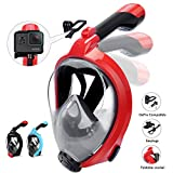 HENGBIRD Snorkel Mask, 2019 Upgraded Foldable Full Face Snorkeling Mask 180° Panoramic View Easy Breathing, Anti -Foggy Anti-Leak for Adult and Kids (Red, Large/Extra Large)