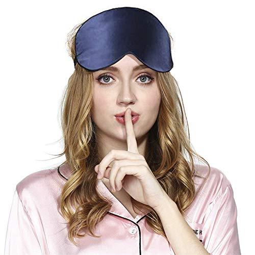 Viedouce Antifaz Dormir Avion Mascara Dormir Adultos Seda Mascara Ojos Dormir Antifaz Niños Hombre Mujer Ergonomico 100% Anti-Luz 100% Natural Seda Máscara de Sueño Noche Correa(1 Pack- Azul)