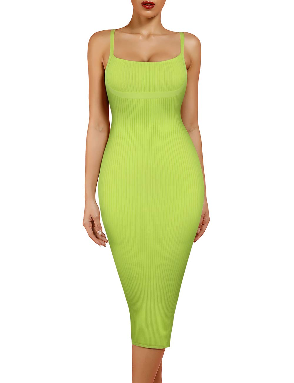 Available at Amazon: UONBOX Women's Strappy Sleeveless Bottom Slitted Plain Party Bodycon Bandage Dress