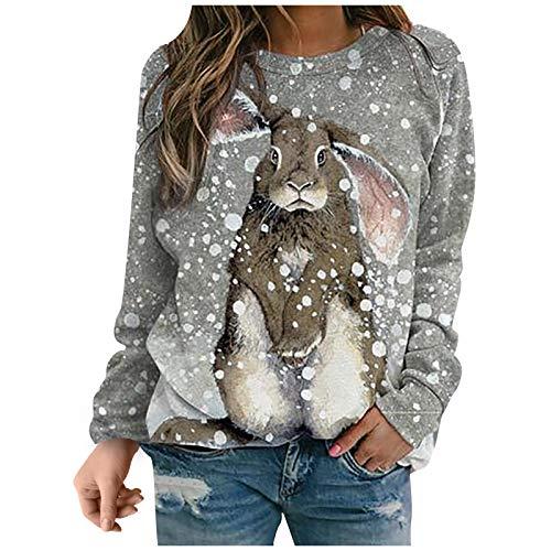 Chejarity Jersey de manga larga para mujer, diseño de conejo, túnica, a rayas, cuello redondo, camiseta de manga larga para mujer, básica, elegante, marrón, XL