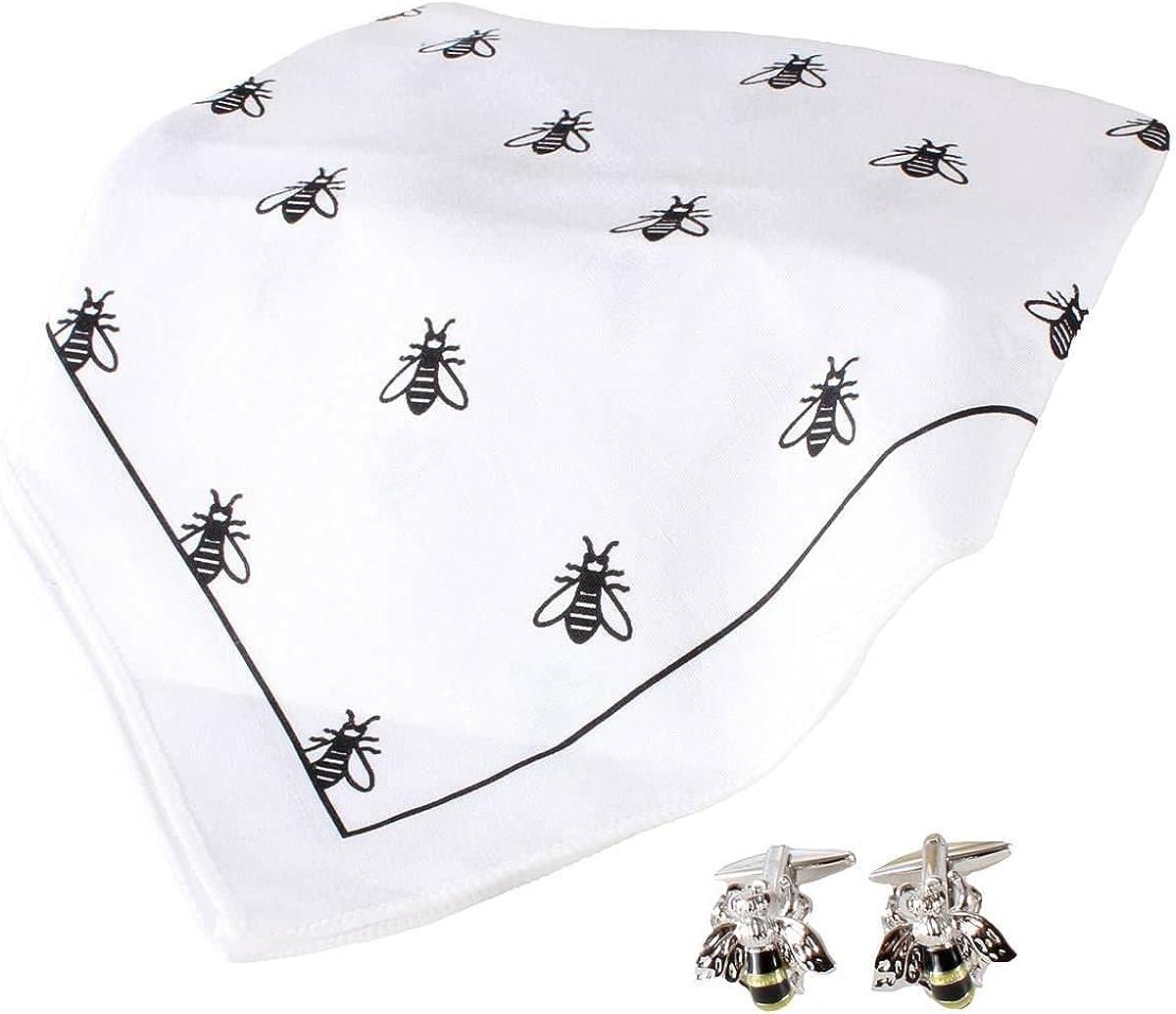 David Van Hagen Mens Bee Handkerchief and Cufflink Set - White/Black/Yellow