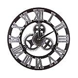 Mengshen Reloj De Pared Decorativo Retro De Gran Tamaño - De Madera Y Silencioso (Plateado, 40CM, Números Romanos)
