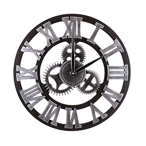 orologio da parete con ingranaggi a vista Mengshen Orologio da Parete Decorativo RETR¨° Oversize - in Legno E Silenzioso (Argento